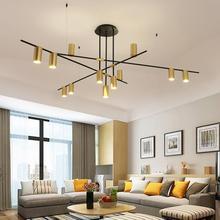 цена на Gold Black wrought iron chandelier Lighting Kitchen Dining room Creative Design lustre suspension lamp Branch nordic chandelier