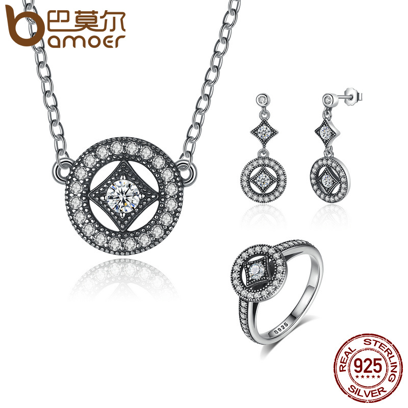 BAMOER Genuine 925 Sterling Silver Jewelry Set Classic Vintage Allure CZ Bridal Jewelry Sets Sterling Silver Jewelry ZHS032