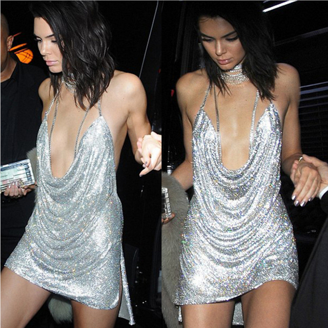 Hot Sale Newest 2017 Runway Kendall Jenner Dress Women Gold Colorful Sexy Deep V Neck Strap Bling Sequin Backless Party Dress