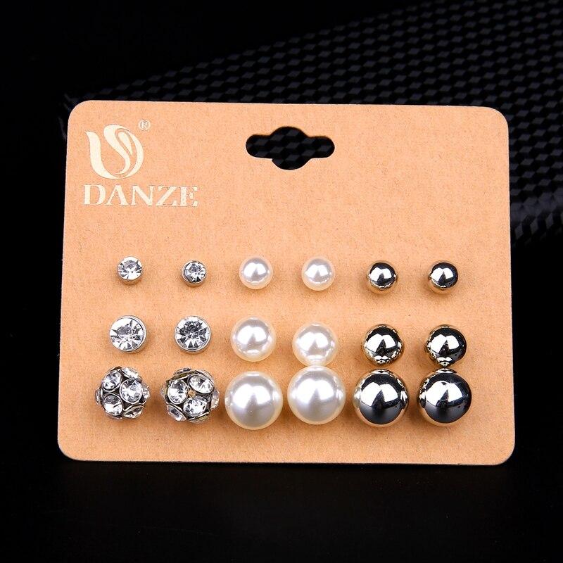 DANZE 9 Pairs / lot Joyería de Perlas de Imitación Clásica Esmerilado Bola de Cristal Stud Pendientes Set Para Mujeres Boucle D'oreille