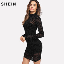 449411b380 SHEIN Party Dress Women Sexy Bodycon Dress Black Long Sleeve Stand Collar Transparent  Sheer Mesh Overlay 2 In 1 Dress