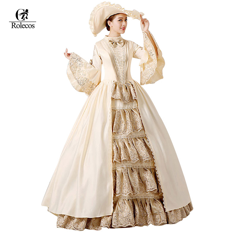 3d7538136a8 Royal Ladies Medieval Renaissance Victorian Dresses Champagne Masquerade  Costumes Queen Ball Gowns For Ladies