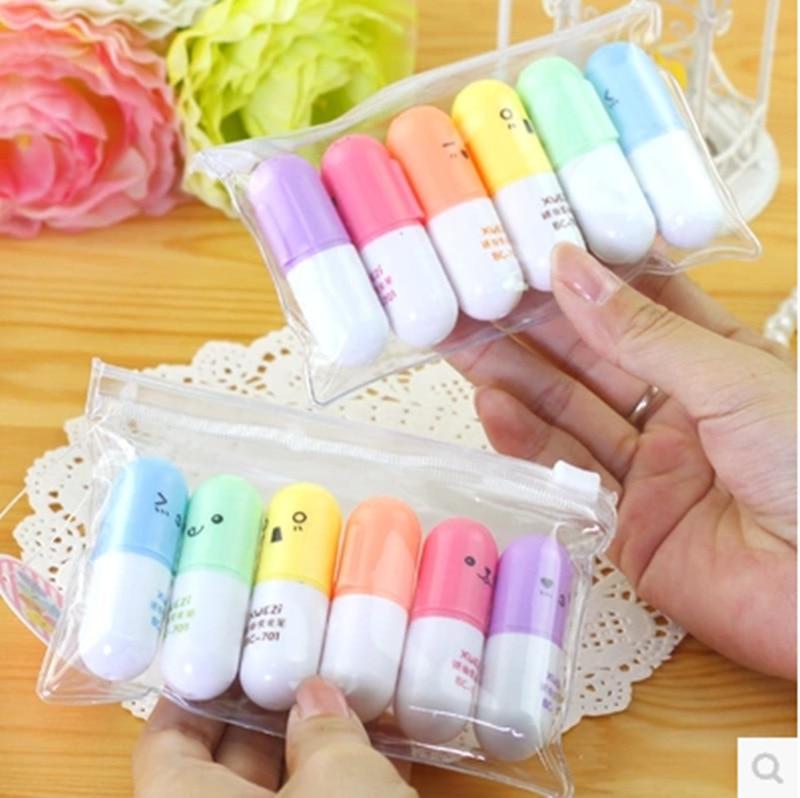 6 Pcs/set Mini Pill Shaped Highlighter Pens For Writing Cute Face Graffiti Marker Pen Korean Stationery School Office Supplies