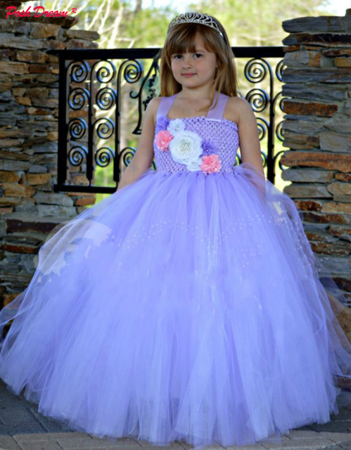 POSH DREAM Lavender Dreams Couture Flower Girl Tutu Dress Purple Vintage Flower Princess Dress for Children Size 1-12 Years