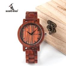 BOBO de AVES WM10 Caso Relojes De Madera de Sándalo Rojo Secoya Escala Del Dial Banda de Cuarzo Reloj de la Marca Diseñador aceptar OEM