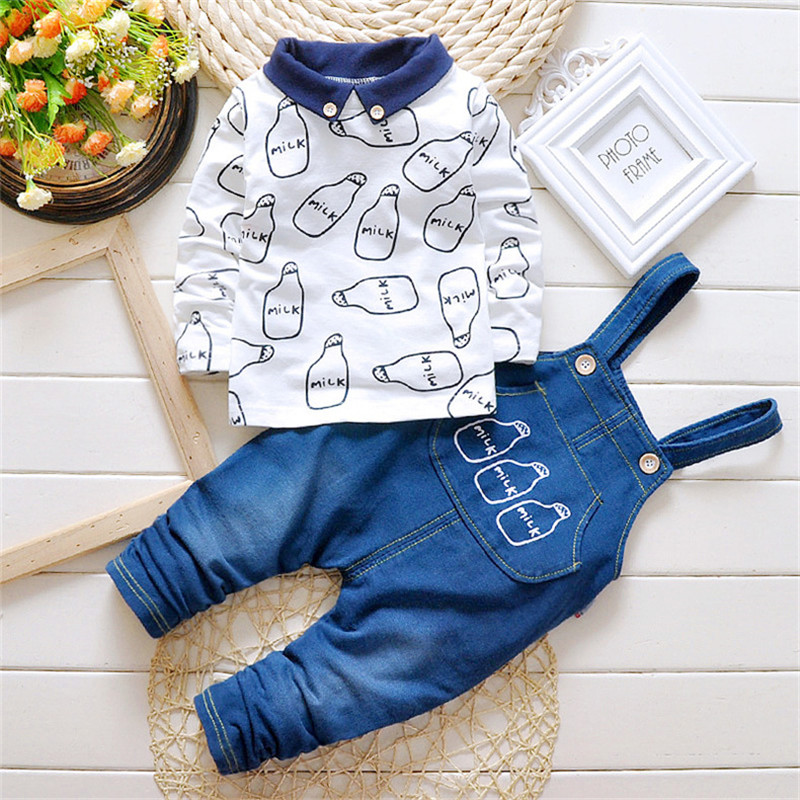 2pcs Toddler Baby Boys Clothes Set Cowboy Overalls Pnats Long Sleeve Shirt Tops Clothing Suit Kid Boy Outfits Suspender Trousers 2pcs set baby clothes set boy