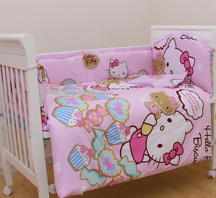 ФОТО 6pcs Baby Bedding Set Anti-collision Breathable Baby Bumper Bed Around Cotton Cartoon Pattern Baby Bumper Bed Sheet Pillow Case