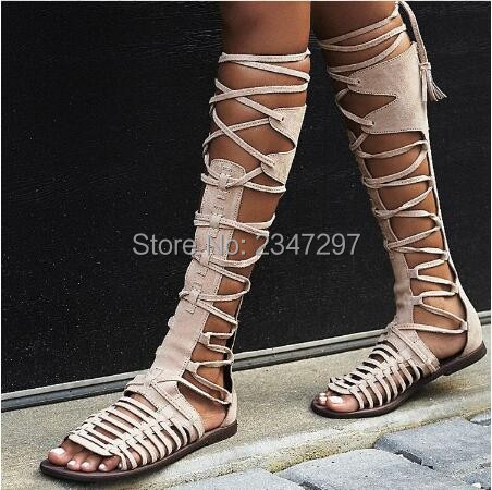 New Summer Fashion Roman style Boots Tassel Fringe Cut-outs Knee High Women Sandals Boots Flats lace Up Gladiator Shoes Women enmayer new women high heels fashion cut outs lace up knee high boots shoes woman summer peep toe sandals boots black shoes