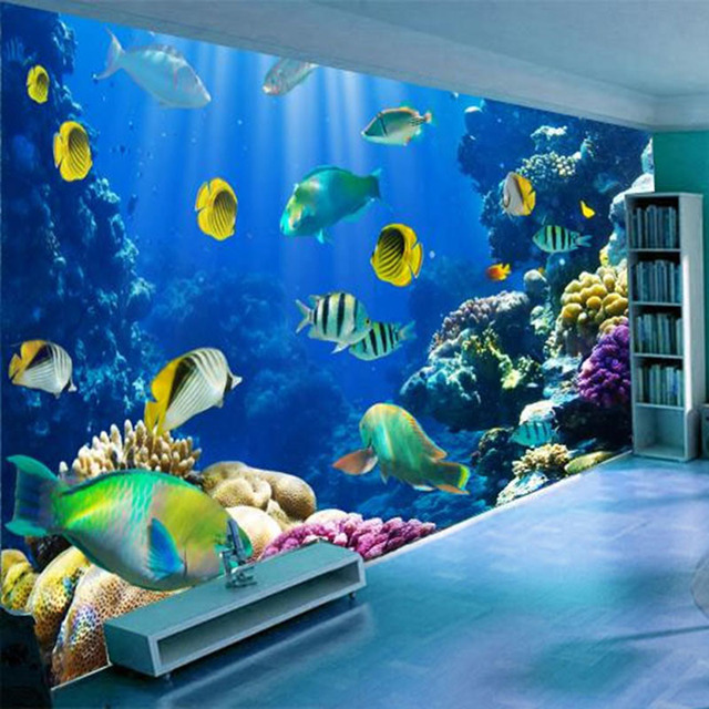 Custom 3D Wall Mural Wallpaper Underwater World Fish Coral Large Painting Living Room Bed