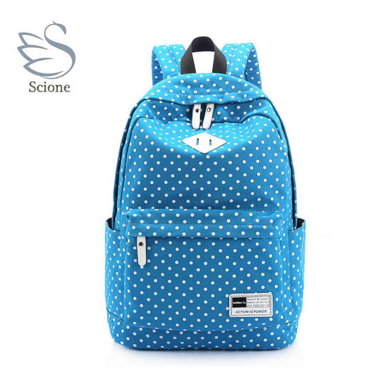 Scione Dot холщовые рюкзаки через плечо школьные спортивные сумки корейский модный простой Повседневный дорожный мешок для девочек подростков