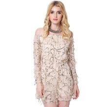 2017 new fashion dress women Evening Club Party Sexy Sequin Chiffon Long Sleeve dresses slash neck female clothing Spring Autumn