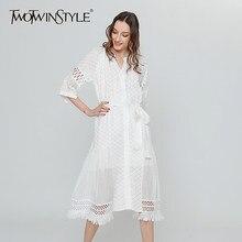 6bd9f1b5b0 TWOTWINSTYLE białe koronki letnia sukienka kobiet wysoka talia bandaż kwiat  zrobiony na szydełku kitki sukienki midi odzież codz.