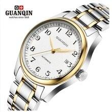 Мужские автоматические механические часы GUANQIN, водонепроницаемые часы с кожаным ремешком и календарем, мужские наручные часы