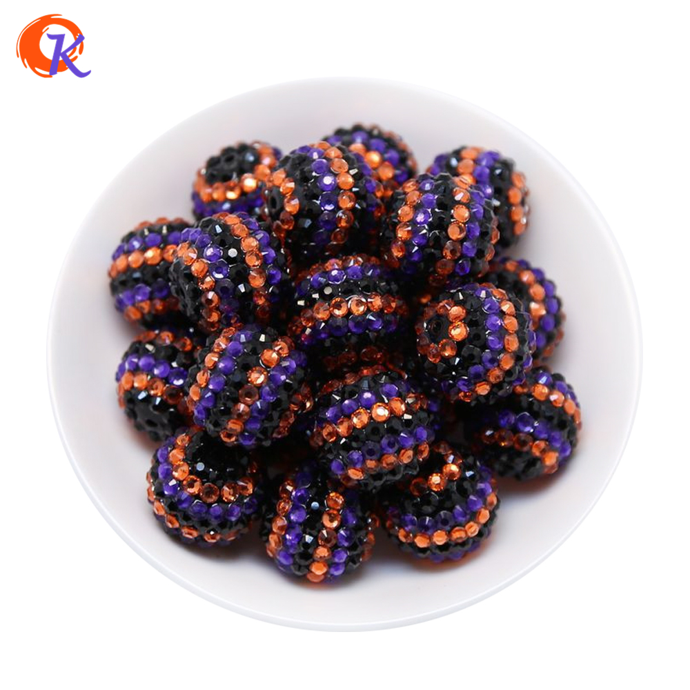 R123 Cordial Design 20MM 100Pcs/Lot Orange Black Purple Stripe Resin Rhinestone Beads For Colorful Necklace Jewelry CDWB 516091