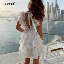 SONDR Spring Lace Patchwork Two Piece Set Women O-Neck Short Sleeve Blouse Ruffles Female Suit Fashion 2019