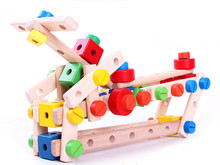 New wooden toy 80 piece  Variety blocks Multifunctional nut Baby Free Shipping
