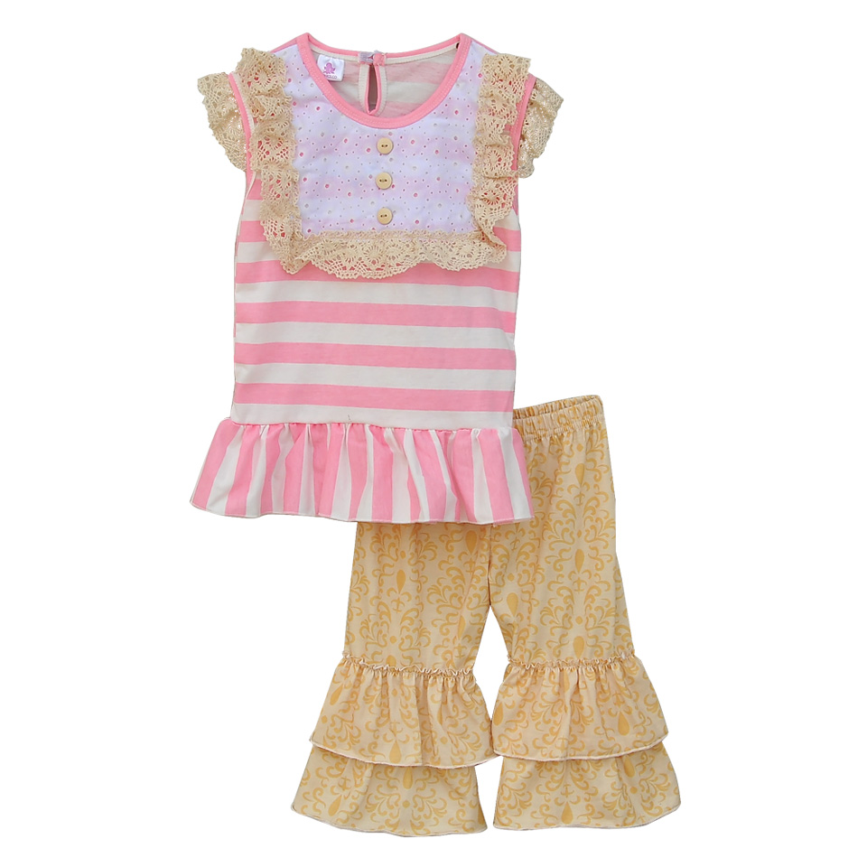 2016 New Style Baby Clothes Pink Striped Top Lace Decor Chest Cute Printing Ruffle Capris Summer