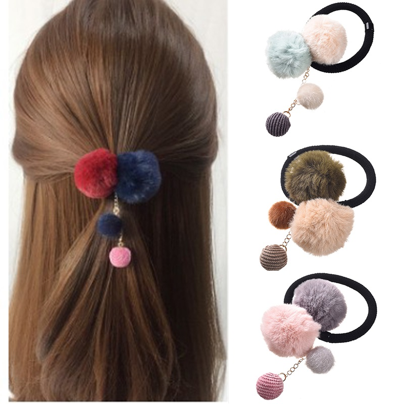 Girls Hair Ties Colorful Pompon Elastic Hair Bands Cute Creative Fur Ball Hair Rope Lovely Rubber Scrunchies Hair Accessories()