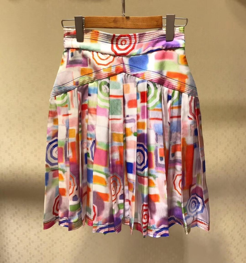 2019 new ladies fashion sexy printed pleated silk female skirt 0507