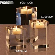 PEANDIM K9 Crystal Wedding Candle Holder Candlestick Party Home Glass Strands Bonus 3pcs Candles