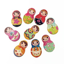 50Pcs Fashion Bulk Mixed Russian Doll Wood Button Sewing Accessories Decoration Buttons Handmade Scrapbooking Craft DIY 19*30mm