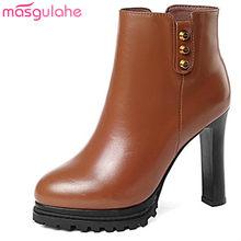 89dea6e17 Masgulahe tobillo remaches zippers plataforma tacones altos botas de cuero  genuino estilo Reina Otoño Invierno botas para Mujer .