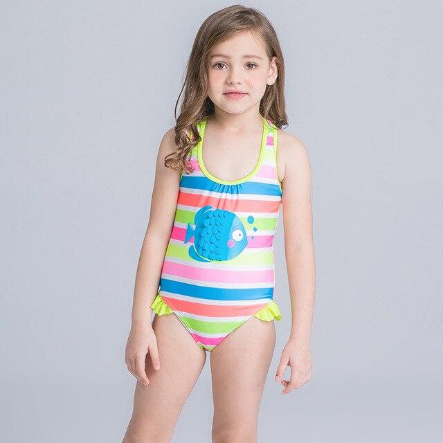 001e510f52406 2017 Summer Children's Girls Swimwear Cute Bikini Swimsuit for Girls Kids  Bathing Suit Girls Cartoon Striped Biquini Infantil