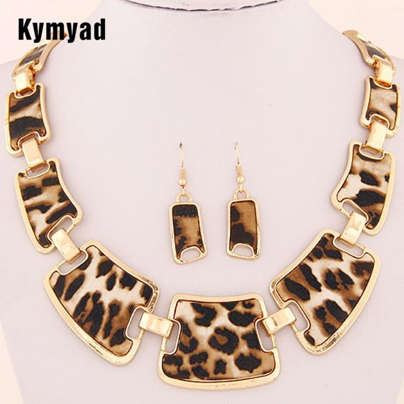 Kymyad Sistemas de Joyería de Moda Popular Elegante Punk Geométrico Leopard Link Cadena Collar Pendientes Conjuntos Moda Accesorios de Mujer