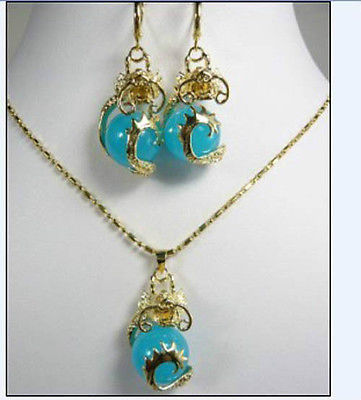 Hot sell Noble- FREE SHIPPING>>@dragon Pendant Natural stone necklace Earrings set>> Plated gold Bridal wide watch win