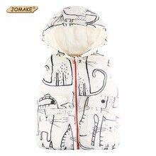 Cartoon Cat Kids Vests Winter 2017 Children Hooded Waistcoat Cute Baby Clothes Thick Warm Kids Outerwear & Coats Boys/Girls Vest
