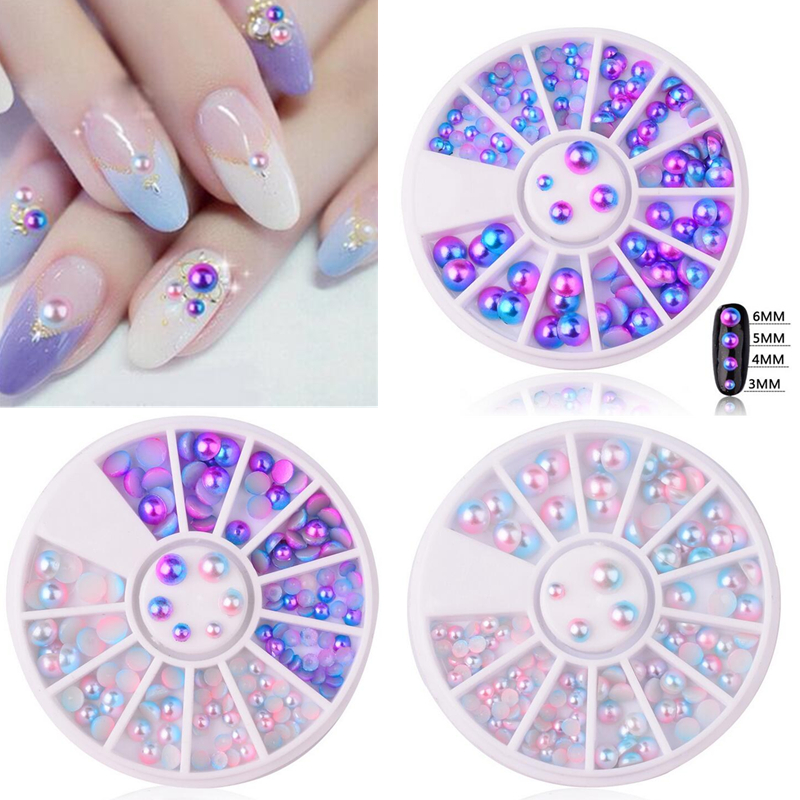 Mix Size Pearl Flat Back Magic Design Mermaid Gradient Symphony Charms Beads Wheel Nail Art 3D Tips Decoration Jewelry Manicure