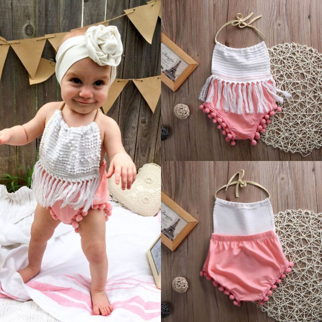 94883bec818 Newborn Toddler Infant Baby Girl Clothes Tassels Backless Cute Jumpsuit  Outfits Sunsuit Clothes