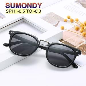SUMONDY Prescription Sunglasses Spectacles Myopia Women Men Brand for Sph-0.5 To-6.0