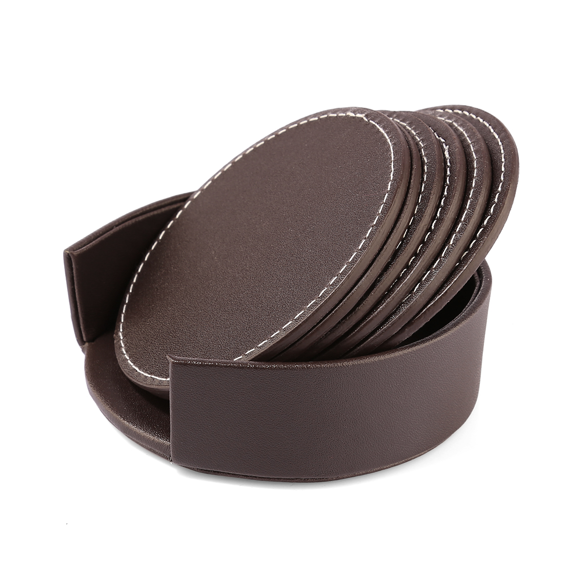 E-SHOW 6Pcs PU Leather Heat-resistance Placemat Cup Mats Coffee Mug Drink Coasters Cup Cushion Minions