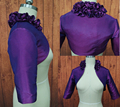 Ruffles Flowers Three Quarters Sleeve wedding jacket bridal Taffeta Purple bolero jackets party Dress Coat