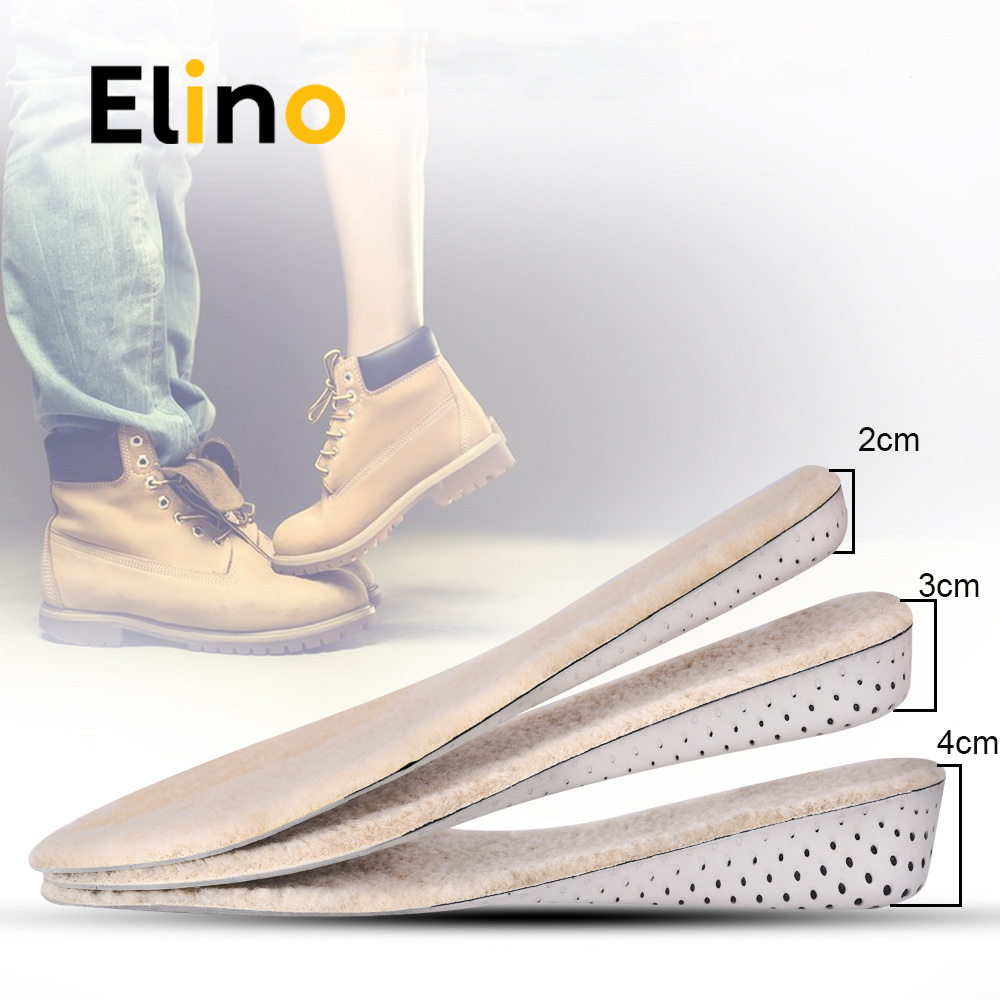 Elino Winter Warm Wool Felt Height Increase Insoles Cashmere Thermal Insole for Snow Boots Shoes Lift Taller Increasing Pads bsaid height increasing fur insoles diy cut winter keep warm thick breathable soft wool shoe insole men women height increase