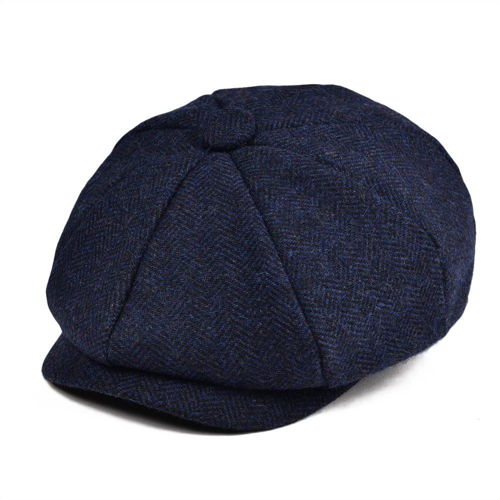 Mens Girls Peaky Blinders Style Wool Newsboy Flat Cap Grey Tweed Herringbone Hat