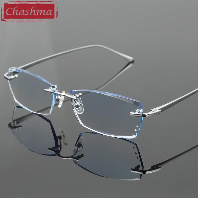 Chashma Diamond Trimmed Eyeglasses Men Rimless Glasses Frame Tint Lenses Quality Optical Glasses Pure Titanium Glasses