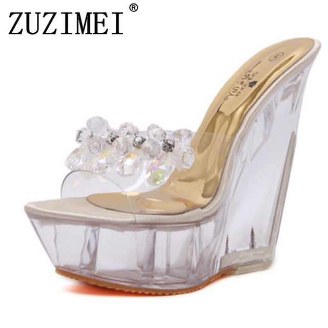 ad12dbfd95 2019 Summer Thick bottom high-heeled slippers women transparent crystal shoes  wedges heel high heels sandals sapato feminino