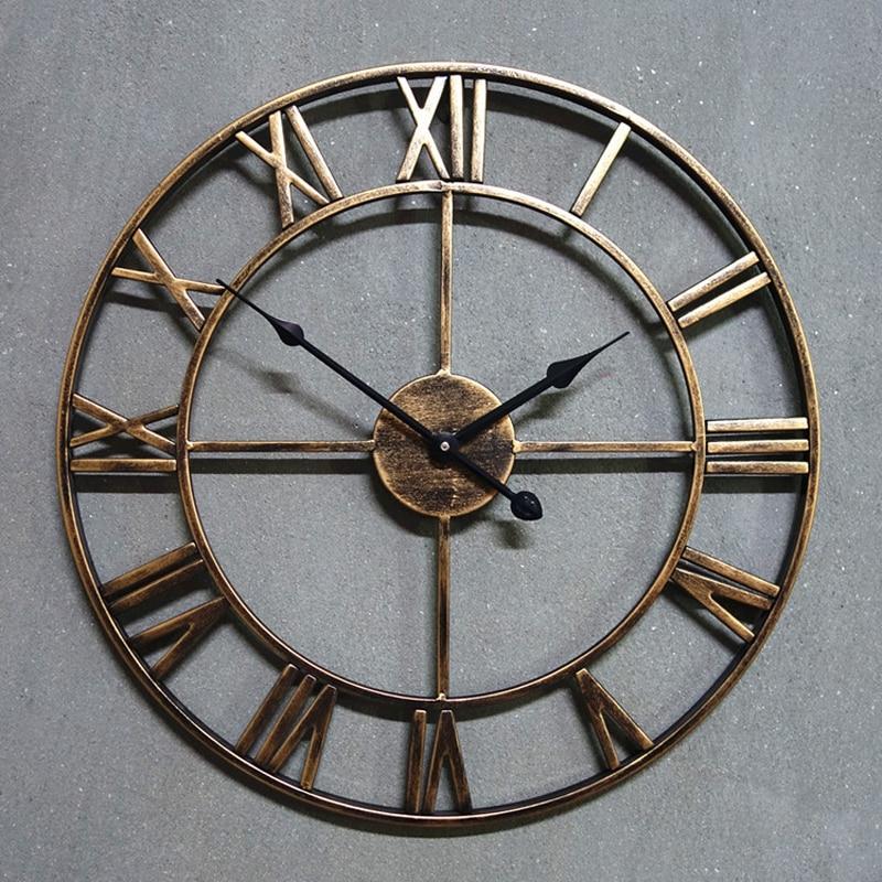 L253-KAYIYO 3D Iron Decorative Wall Clock Retro Big Art Gear Roman Numerals Design The Clock On The Wall (6)