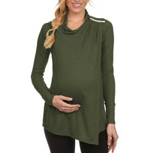 ARLONEET maternity breastfeeding clothes maternity gown Long Sleeve Cowl Neck Side Open Nursing Tops T-shirts L1016