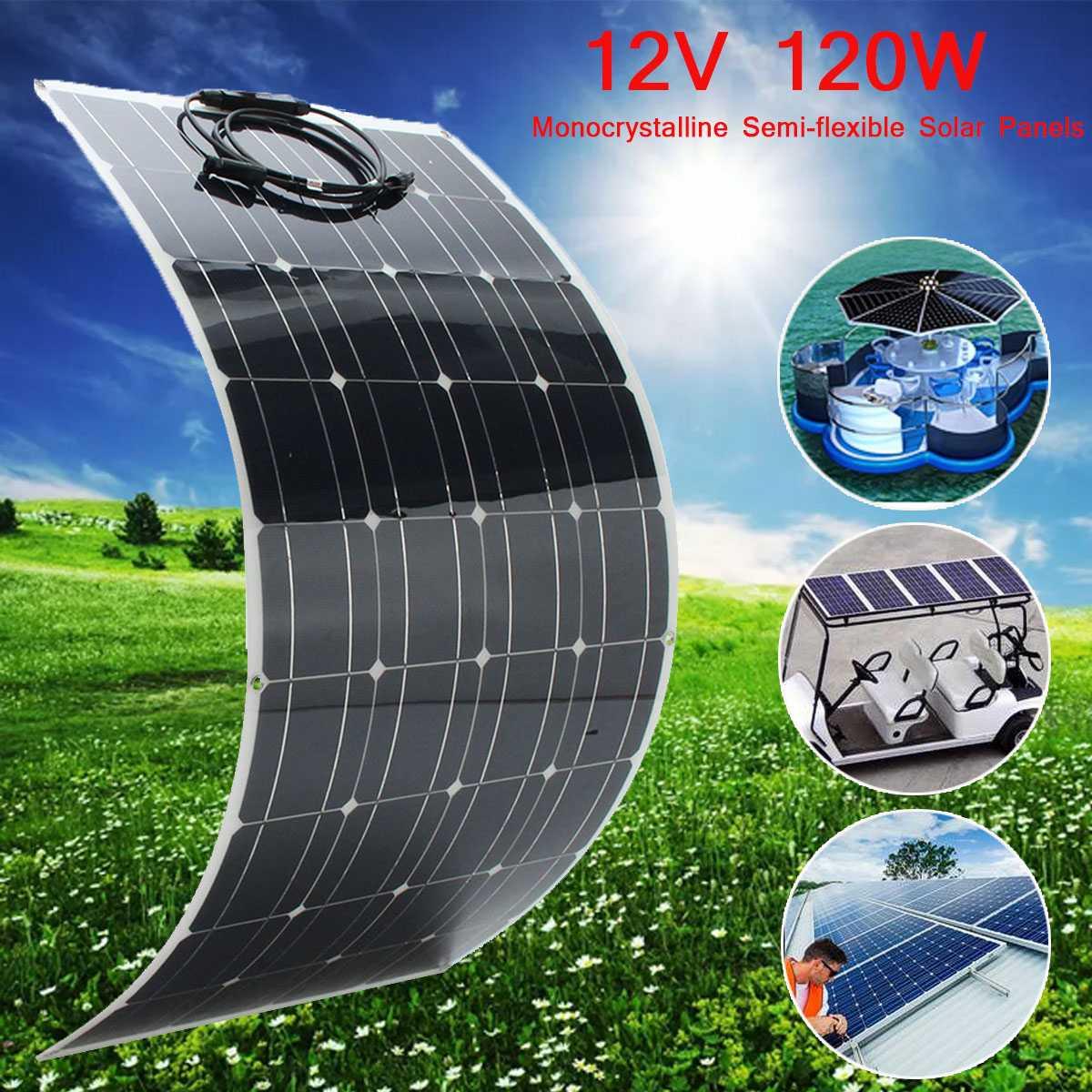 2X SP-39 120W 12V Semi Flexible Monocrystalline Solar Panel Waterproof High Conversion Efficiency Solar Panel + 1.5m Cable