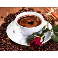 Diamond Painting Cross Stitch Diy Diamond Drawing Rose Coffee 50 40cm 3D Diamond Mosaic Full Square