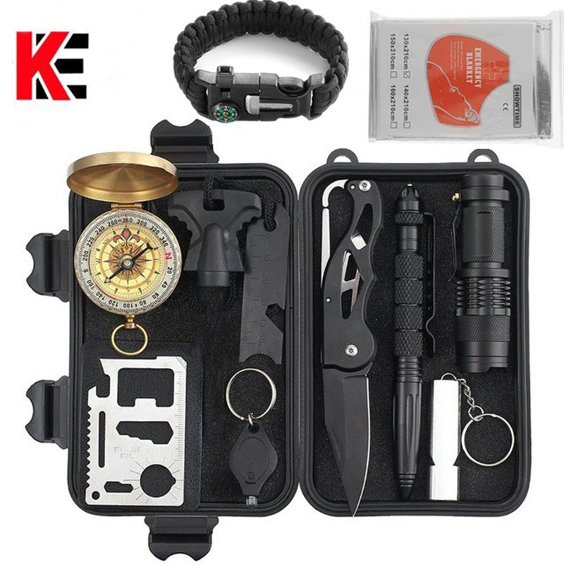 все цены на Outdoor tools Survival 11 in 1 Camping tourism Survival Gear Kits Portable Emergency Survival Multi Tools Whistle compass knife