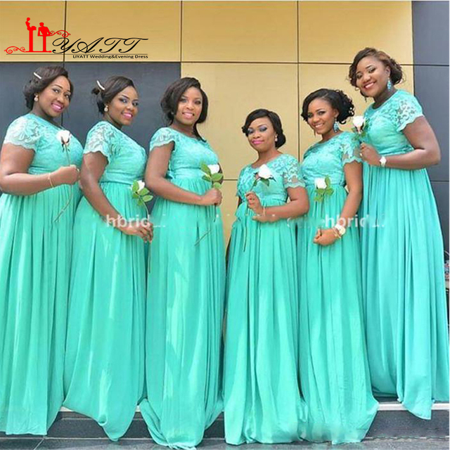 fabe549d4d71 2016 Nigerian Bridesmaid Dresses with Sheer Lace Crew Neck Modest Short  Sleeve Turquoise Chiffon Long Bridal Party Gowns Cheap