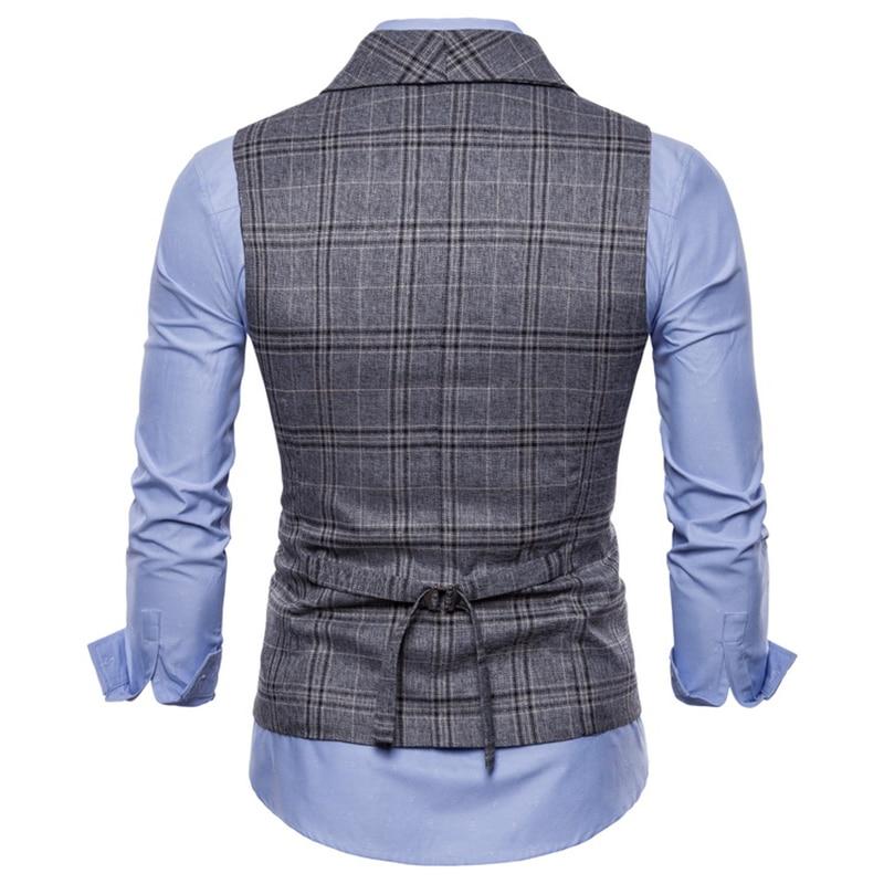 Men Suit Vest 2018 Double Breasted Waistcoat Slim Fit Gilet Men Business Wedding Colete Masculino Social Blazer Plus Size 4XL