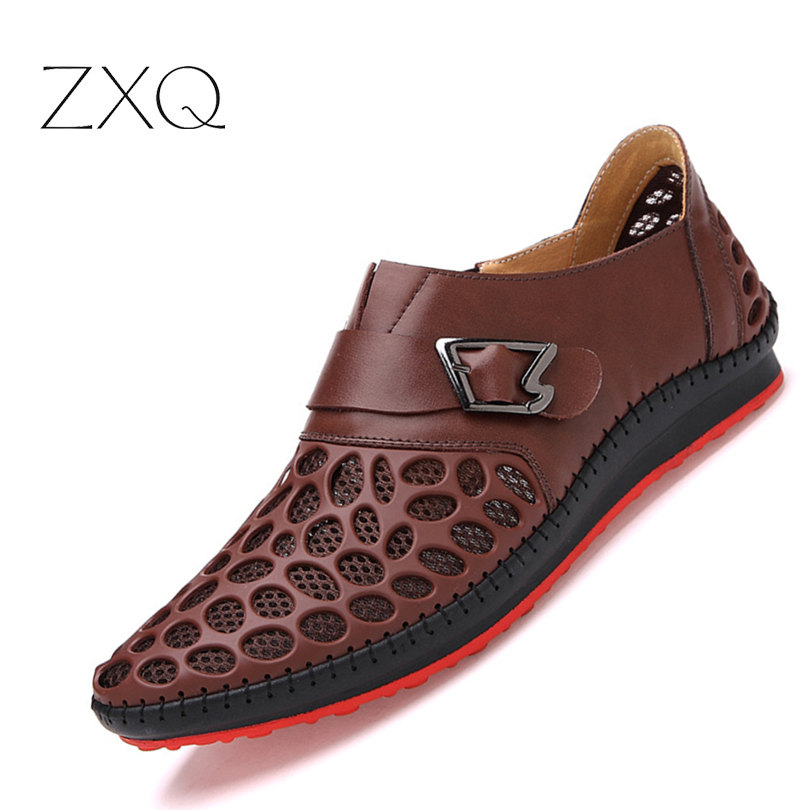 ZXQ Men Shoes Casual Genuine Leather Shoes Mens Breathable Summer Leisure Comfortable Loafers For Men New 2017 Zapatos Hombre zapatillas hombre 2017 fashion comfortable soft loafers genuine leather shoes men flats breathable casual footwear 2533408w