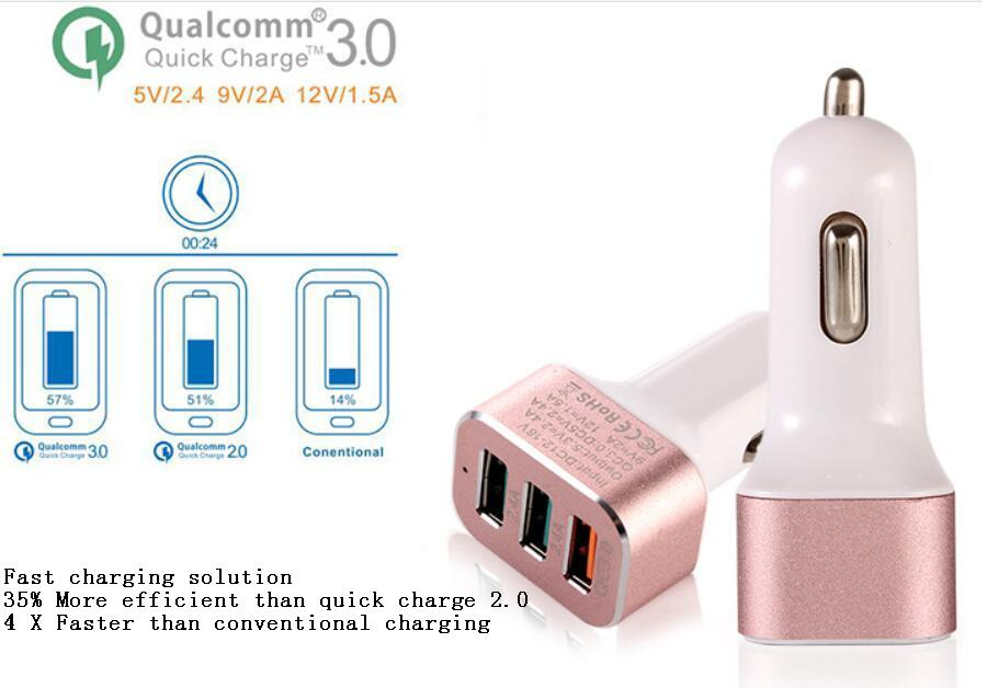 Qual comm Certified  Quick Charge 3.0 Car Charger Dual USB 2.4A + QC 3.0 Ports Power Supply for Phone Power Bank Tablet