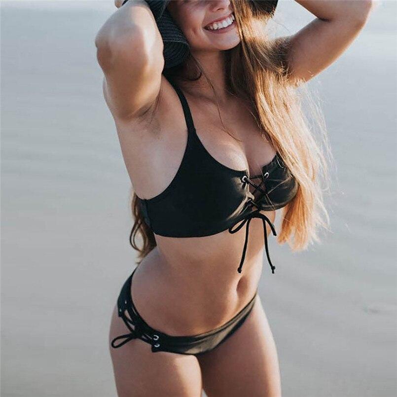 53deef84094b2 ... Summer Sexy Swimwear Women Bandage Push-up Black Bikini Tops Padded Bra  swimsuit women's separate ...