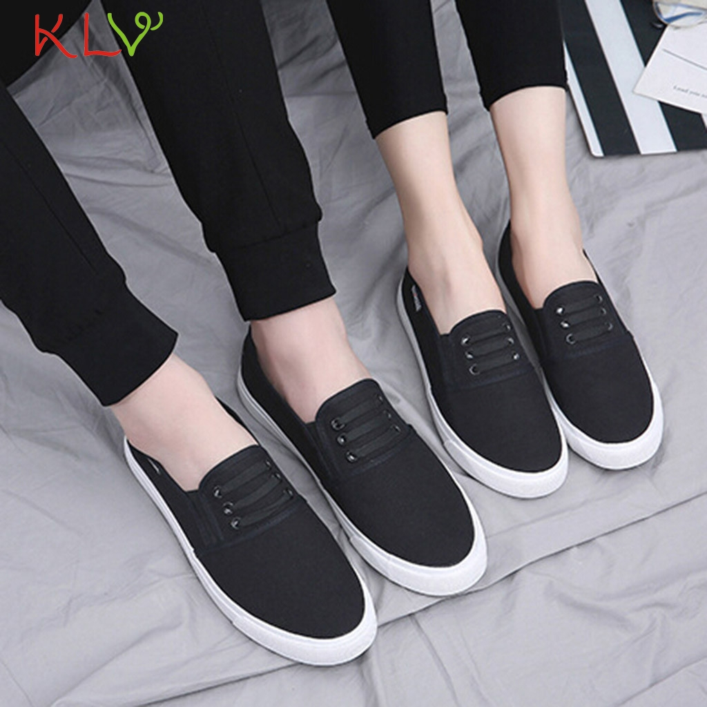 Womens Girls Slip On Backless Loafers Casual Canvas Mule Shoes